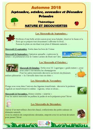 Programme ALSH nature et découverte – Automne