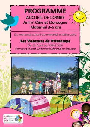 Programme accueil de Loisirs 3-6 ans mercredis et vacances de Printemps 2019