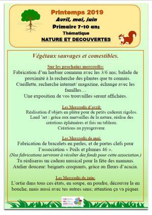Programme Nature et Découvertes 7-10 ans