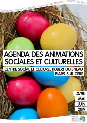 Agenda des animations sociales et culturelles – avril mai juin 2019