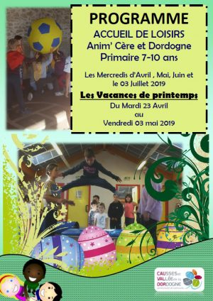 Programme accueil de loisirs mercredis et vacances de printemps 7-10 ans
