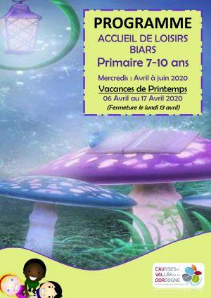 Programme ALSH 7-10 ans, avril mai juin 2020